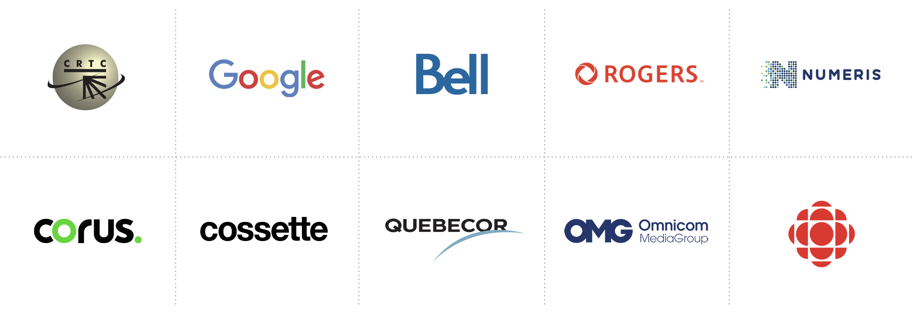 Apple, Google, Bell, Rogers, Videotron, Corus, CTV, touche, timespace, CBC